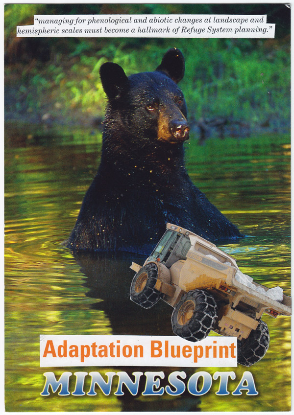 "Collage of yellow dump truck in front of a bear in a pond, with text reading ""Adaptation Blueprint Minnesota,"" and a caption on conservation resource planning"