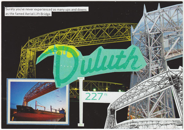 Postcard collage showing many different views of the Duluth shipping canal's famous lift bridge.