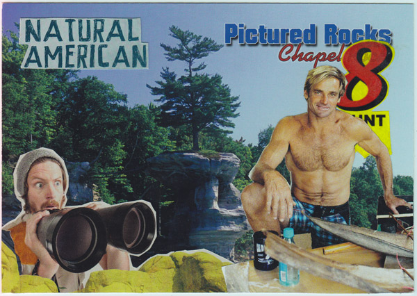 Collage of buff surfer and scruffy, bearded hiker with binoculars in front of Chapel Rock, Pictured Rocks National Lakeshore