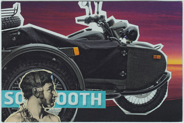 Collage of motorcycle and sidecar with old-time medical drawing