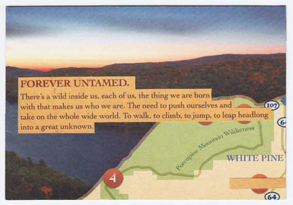 "Postcard collage of Porcupine Mountain Wilderness State Park with ""Forever Untamed"" quote"