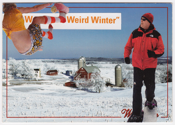 """Weird Winter"" postcard collage from Wisconsin. Snowshoes and flying people."