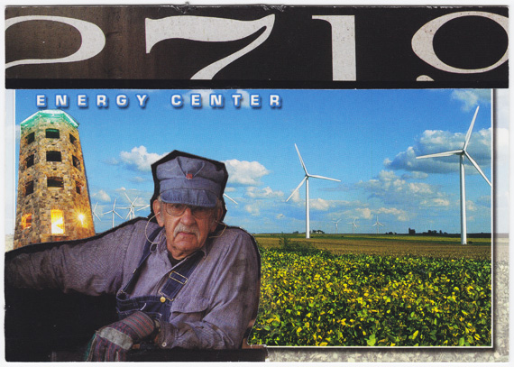 Postcard collage of engineer in front of wind farm in Wisconsin