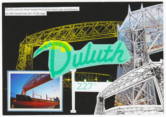 Postcard collage of lift bridge in Duluth