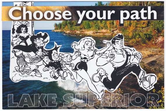 "Postcard collage of crowd running in front of Lake Superior with text ""Choose Your Path"""