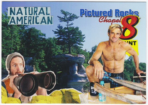 Natural American postcard collage - buff guy and binoculars-wielding outdoorsman