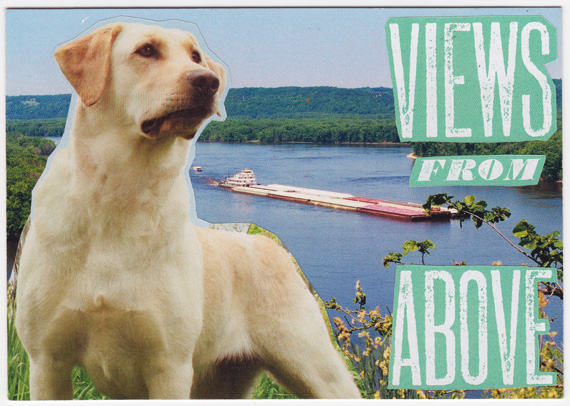 Postcard collage of dog in front of barge in Mississippi river in Iowa