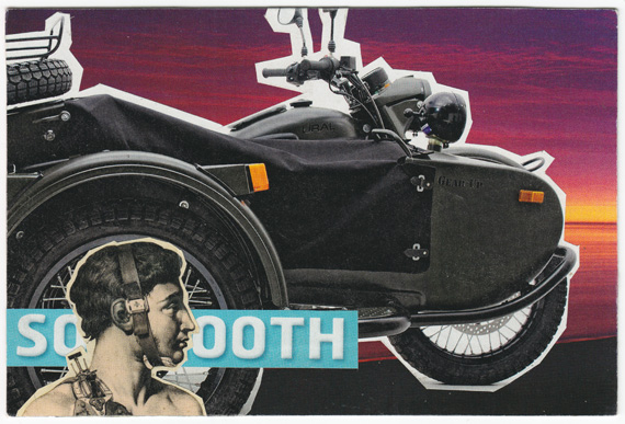"Postcard collage of man, motorcycle, sidecar, and the word ""Soooth"""
