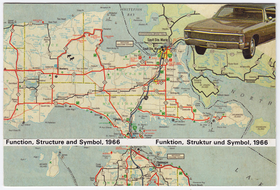 "Postcard collage of Michigan map, old car, and text reading ""Function, Structure, and Symbol"""