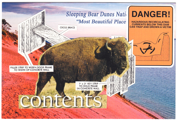 Postcard collage of buffalo, Sleeping Bear Dunes, a danger sign, and a wooden masonry form