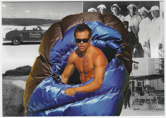 Postcard collage of man in sleeping bag at Sleeping Bear Dunes