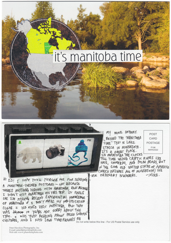 Postcard collage of Manitoba Time and lake Itasca, with mysterious Canadian clock on rear