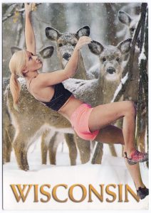 Postcard collage of woman climbing up trees and deer in Wisconsin winter
