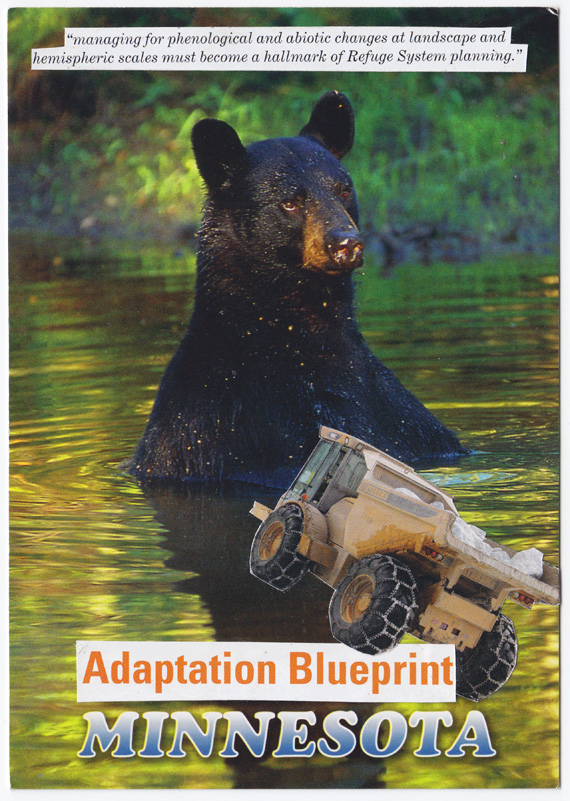 "Postcard collage of bear in lake, with yellow truck and text ""adaptation blueprint Minnesota"""
