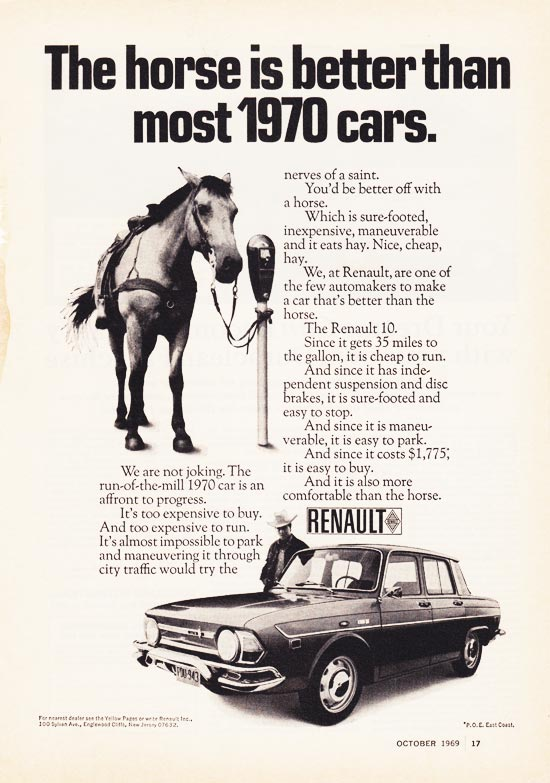The horse is better than most 1970 cars.