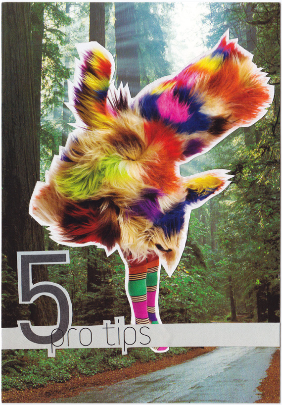Postcard collage of a strange creature in the redwoods advertising five pro tips