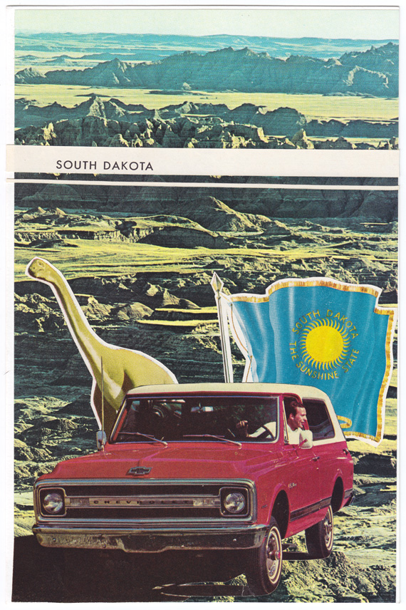 Postcard collage of South Dakota flag, dinosaur, and truck