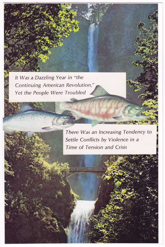 Postcard collage of Multnomah Falls, salmon, and a quasi-political caption