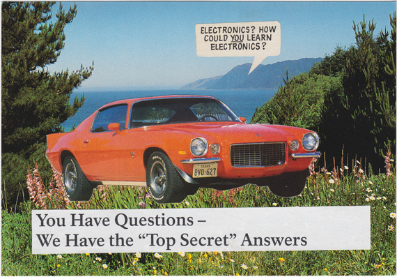 Postcard collage of Camaro with top secret answers