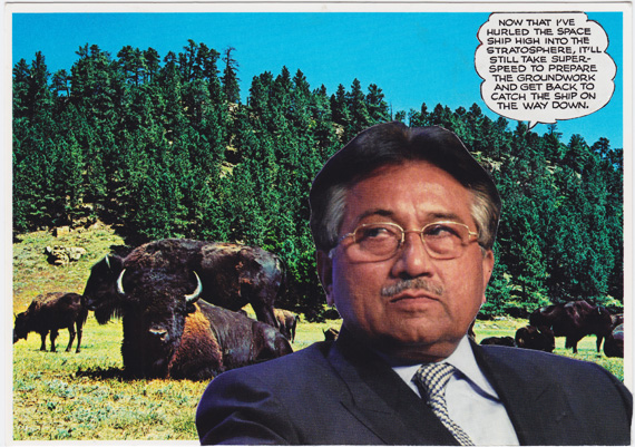 Postcard collage of Pervez Musharraf contemplating space rescue in front of bison