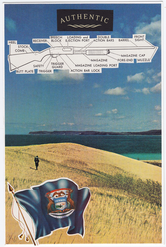 Postcard collage of Sleeping Bear Dunes, flag, and gun diagram