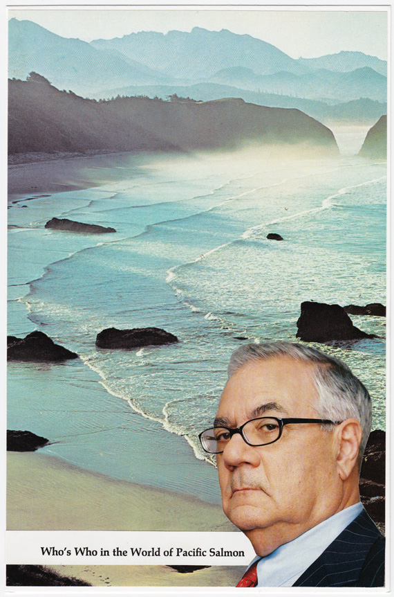 Postcard collage of Barney Frank (king of the Pacific salmon) and the coastline