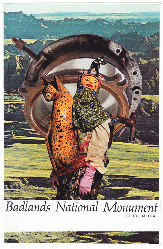 Postcard collage of Badlands, porthole, and elaborate costume