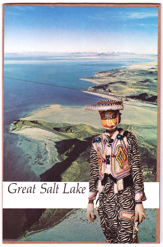Postcard collage of Great Salt Lake and elaborate costume