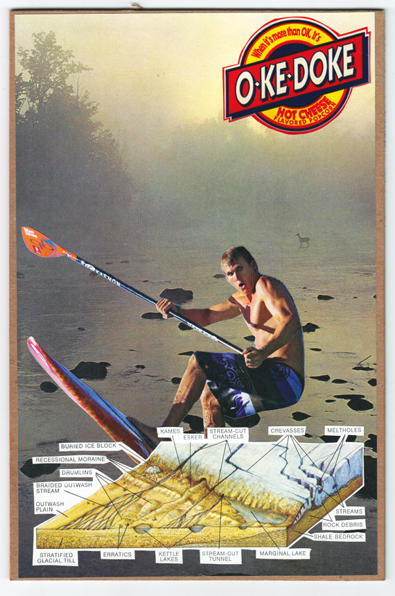 Postcard collage of glacial geology, the St. Croix River, and man on stand-up paddleboard thing