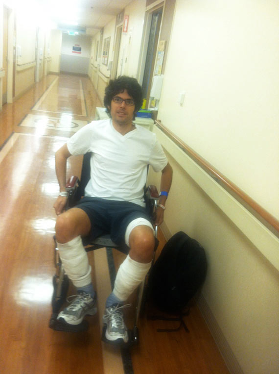 Photo of me in a wheelchair before leaving the hospital.