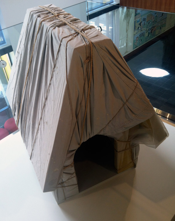 Snoopy's doghouse, wrapped by Christo