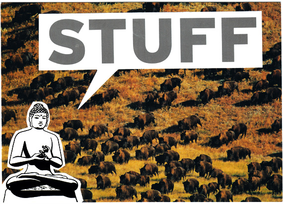 Postcard of Buddha meditating on stuff while bison graze in the background.