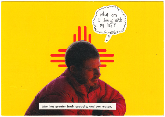 Postcard of pondering man: Man has a greater brain capacity, and can reason.