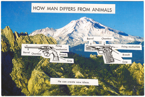 Heavy-handed postcard about how man differs from animals.