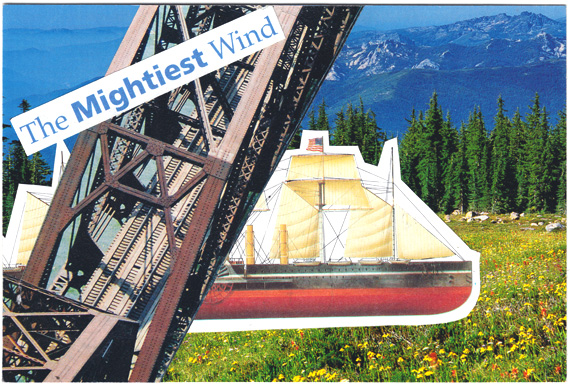 Postcard with a bridge, a ship, the mightiest wind, and finding your primary function.