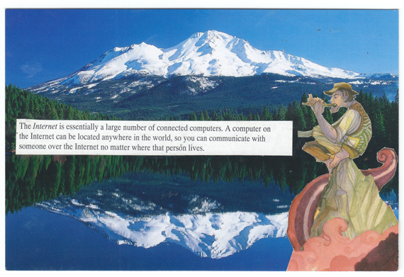 Postcard collage of Mount Shasta and the Internet