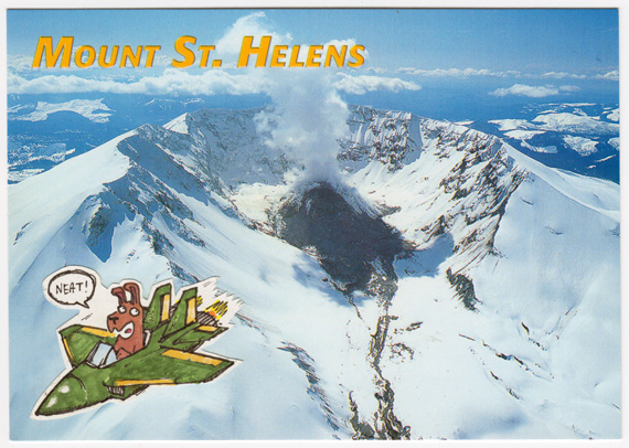 Postcard collage of cartoon dog overflying Mount Saint Helens