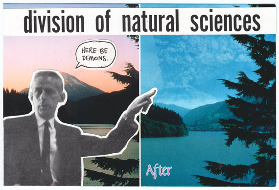 Postcard collage explaining the science behind Mount Saint Helens