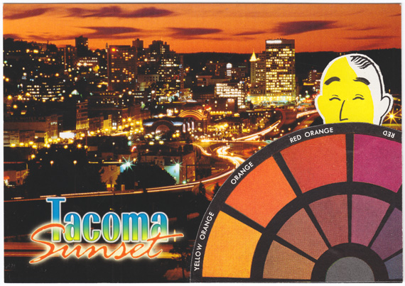 Postcard collage of Tacoma sunset