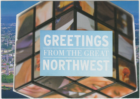 Postcard collage of gigantic northwestern Rubik's cube