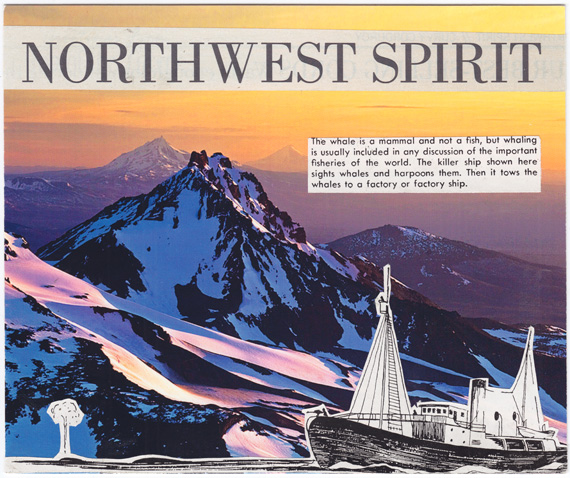Postcard collage about mountains and whaling and the Pacific Northwest