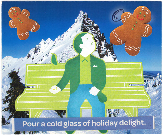 Postcard collage: Man on bench feeding pigeons while two gingerbread men fly above him. Caption: Pour a cold glass of holiday delight.
