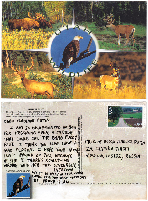 My postcard to Vladimir Putin re: Pussy Riot