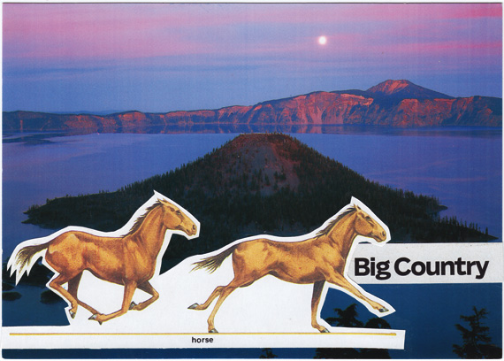 Postcard collage of horses in front of Crater Lake