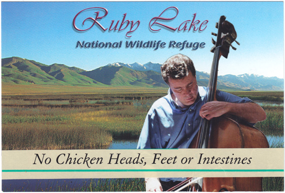 "Postcard collage of cellist in front of Ruby Lake National Wildlife Refuge, with text ""No Chicken Heads, Feet or Intestines"""