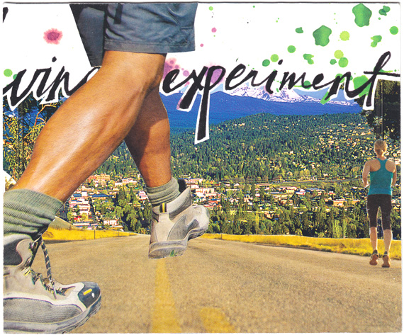 "Postcard collage of people walking on a road above a town, with text that says ""experiment"""