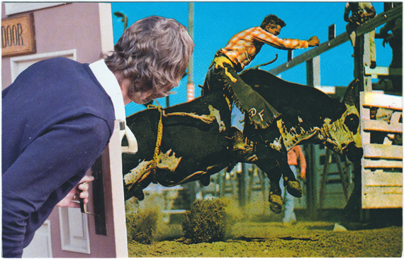 Postcard collage of man opening door to reveal cowboy riding a bucking bull
