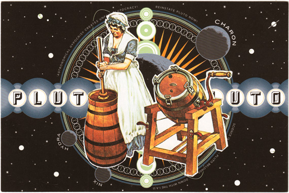 Postcard collage of woman churning butter in front of a depiction of Pluto and Charon
