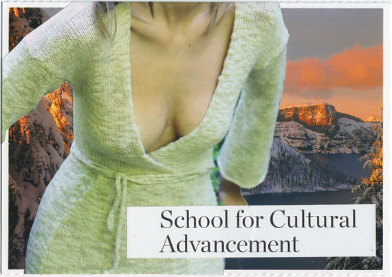 "Postcard collage of prominently displayed breasts in front of Crater Lake in winter, with text reading ""school for cultural advancement"""