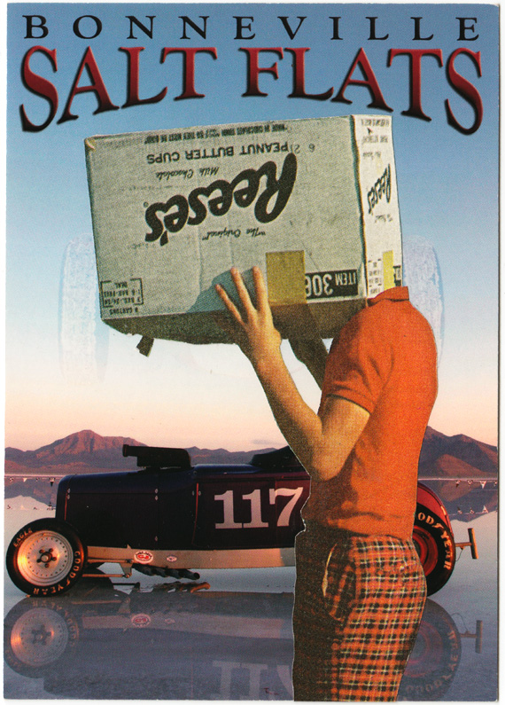 Postcard collage: A boy with a box on his head stands in front of an old-style race car on the Bonneville Salt Flats.